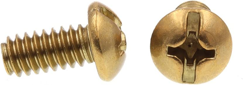 Prime-Line 9005148 Machine Screw Pack of 100 1//4 in-20 X 1//2 in Slotted//Phillips Combo Solid Brass Round Head