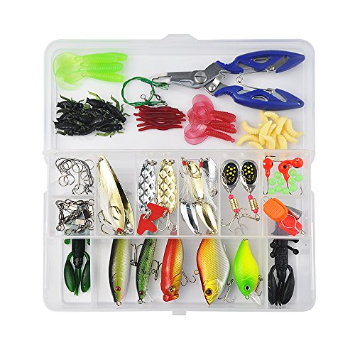 Vishusju Fishing Tackle Set 101Pcs Accessories Lure Baits Hard Soft Kit Pliers Hooks Fishing Gear Lots for Freshwater Saltwater (0.11 Ounce Boxes)
