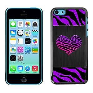 Paccase / SLIM PC / Aliminium Casa Carcasa Funda Case Cover - Stripes Heart Brushed Metal Purple - Apple Iphone 5C