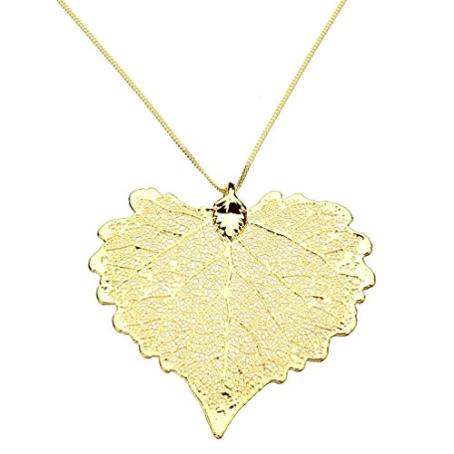 Gold-Plated Cottonwood Leaf Pendant, 18k Gold-Flashed Sterling Silver Curb Chain Necklace, - Leaf Cottonwood Necklace