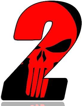 Biomar Labs Startnummer Nummern Auto Moto Vinyl Aufkleber Sticker Skull Schädel Punisher Rot Motorrad Motocross Motorsport Racing Nummer Tuning 2 N 352 Auto