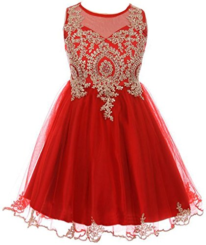 - Big Girls' Dress Sparkle Rhinestones Holiday Christmas Party Flower Girl Dress Red Size 12 (M10BK49)