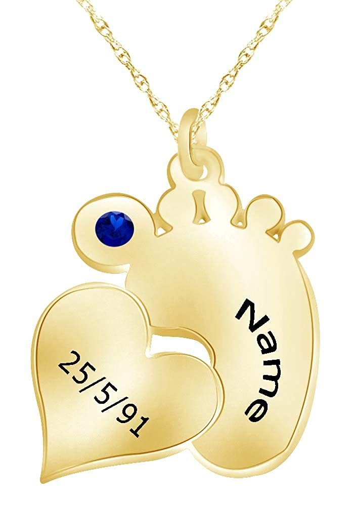 Wishrocks Personalized Name /& Birth Date Custom Engraved Footprint Pendant Necklace