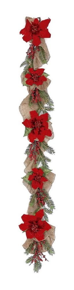Velvet Poinsettia, Red Berry, and Burlap CHOICE of 24 in Wreath or 6 ft Garland (6 ft)