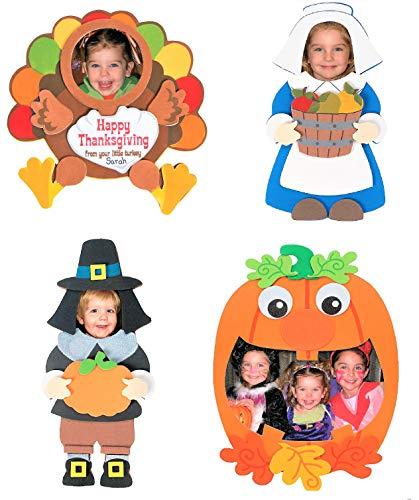 Fall Autumn Magnet Craft Kits Set - Four (4) Kits - Pumpkin, Pilgrims & Thanksgiving Turkey Picture Frames - 5