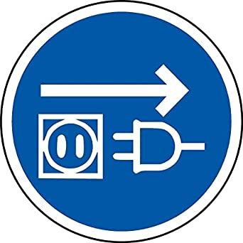 Iso Safety Label Sign International Disconnect Mains Plug From