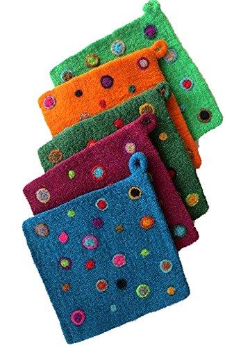 (Felt Potholders with Colorful Dot Design - One Per Order)