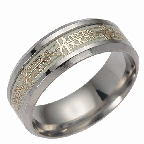 Luminoso anillos, windgoal acero inoxidable estilo punk brilla en la oscuridad anillo de boda banda para hombres mujeres