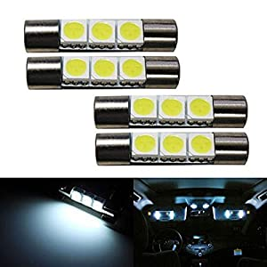 ijdmtoy 4 3smd 29mm 6614f led replacement bulbs for car sun visor vanity mirror lights xenon white