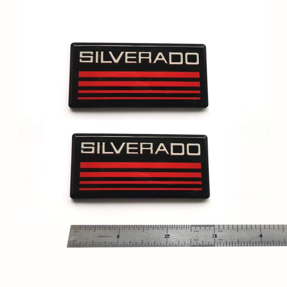 2x OEM Silverado Emblem Badge 3D logo Nameplate Replacement for Suburban Silverado Black Red QUK