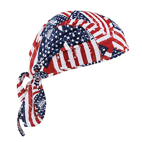 (Ergodyne Chill-Its 6615 Absorptive Moisture-Wicking Dew Rag, Stars and Stripes)