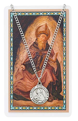 Saint Augustine 3/4-inch Pewter Medal Pendant with Holy Prayer Card