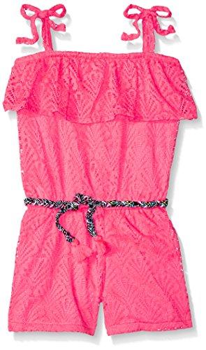 kensie Big Girls' Romper, Aztec Printed Belt Neon Pink, 8 (Kensie Girl Printed)