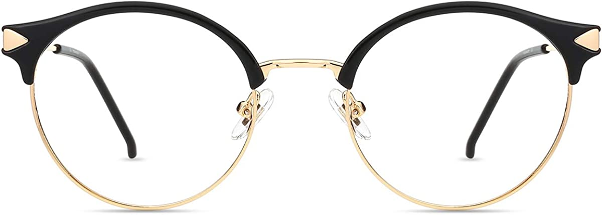 Zinff S939 Klassische Klar Beinstein Schwarz Brille Damen Brille Retro Vintage Rund Blaulichtfilter Brille PC Brille Rund Brille Herren Brille Anti Blaulicht UV-Schutz Linse