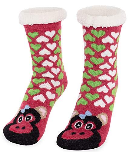 Monkey Fur - Women's Faux Fur Fuzzy Winter Animal Socks with Grippers -18 MONKEY