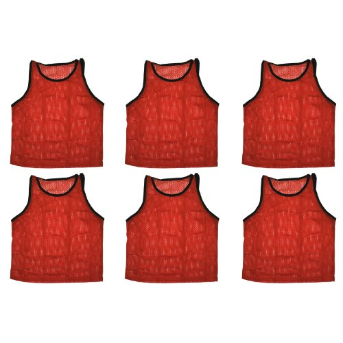 BlueDot Trading Youth Sports Pinnies Scrimmage Training Vests (6-Pack), Red