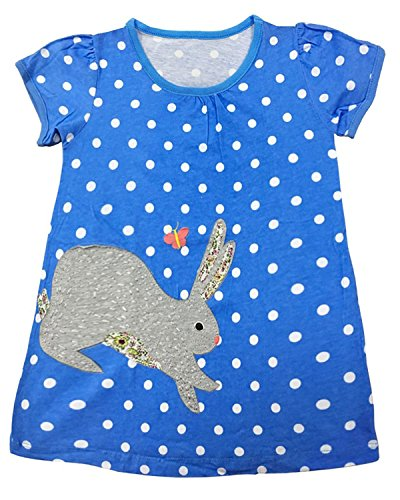 LYXIOF Girls Casual Short Sleeve Dress Cartoon Dresses Animal Print T-Shirt Dress A-Rabbit (Rabbit Animal T-shirt)