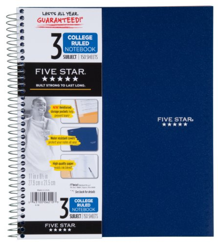 043100062103 - Five Star Spiral Notebook, 3 Subject, 150 College Ruled Sheets, 1 Notebook, Assorted Colors (06210) carousel main 0