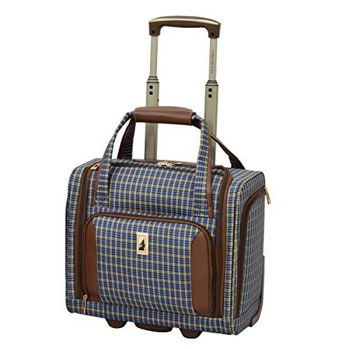 London Fog Kensington Ultra-Lightweight 15inch 2-Wheel Under the Seat Bag, Blue Tan Plaid (London Luggage)
