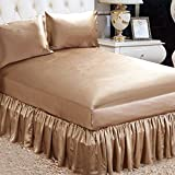 ELLESILK Cappuccino Silk Bed Skirt, the Finest 22 Momme Mulberry Silk, Queen Size