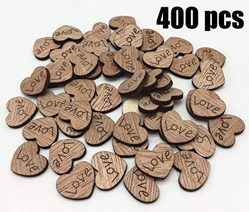 COOLJOY 400 Pcs Rustic Wooden Love Heart Table Scatter for Wedding Decorations, Perfect for Rustic Wedding Planning,Marriage,Bridal Showers,and DIY Crafts -