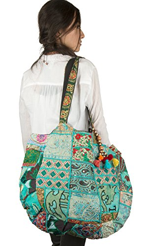 Tribe Azure Large Women Embroidered Shoulder Bag Tote Tassel Colorful Comfortable Roomy Casual Fashion Market Grocery Everyday (Turquoise Blue)