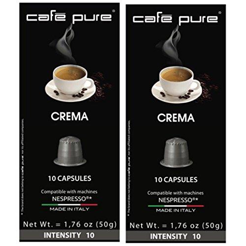Crema Cafe (COFFEE NESPRESSO ($0.45) COMPATIBLE Capsules -Cafe Pure- For all NESPRESSO original line Machines, 2 PACK of 10 Pods ($8.99). Made in ITALY (20, CREMA/Grey))