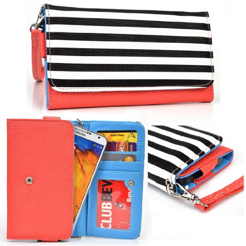 Kroo Huawei Mate S 5.5, Y625, Y635, Huawei P8lite, P8, Huawei SnapTo 5.0 Orange Striped Wallet Case with Strap and Coin Pocket - Plum Black Zebra Snap