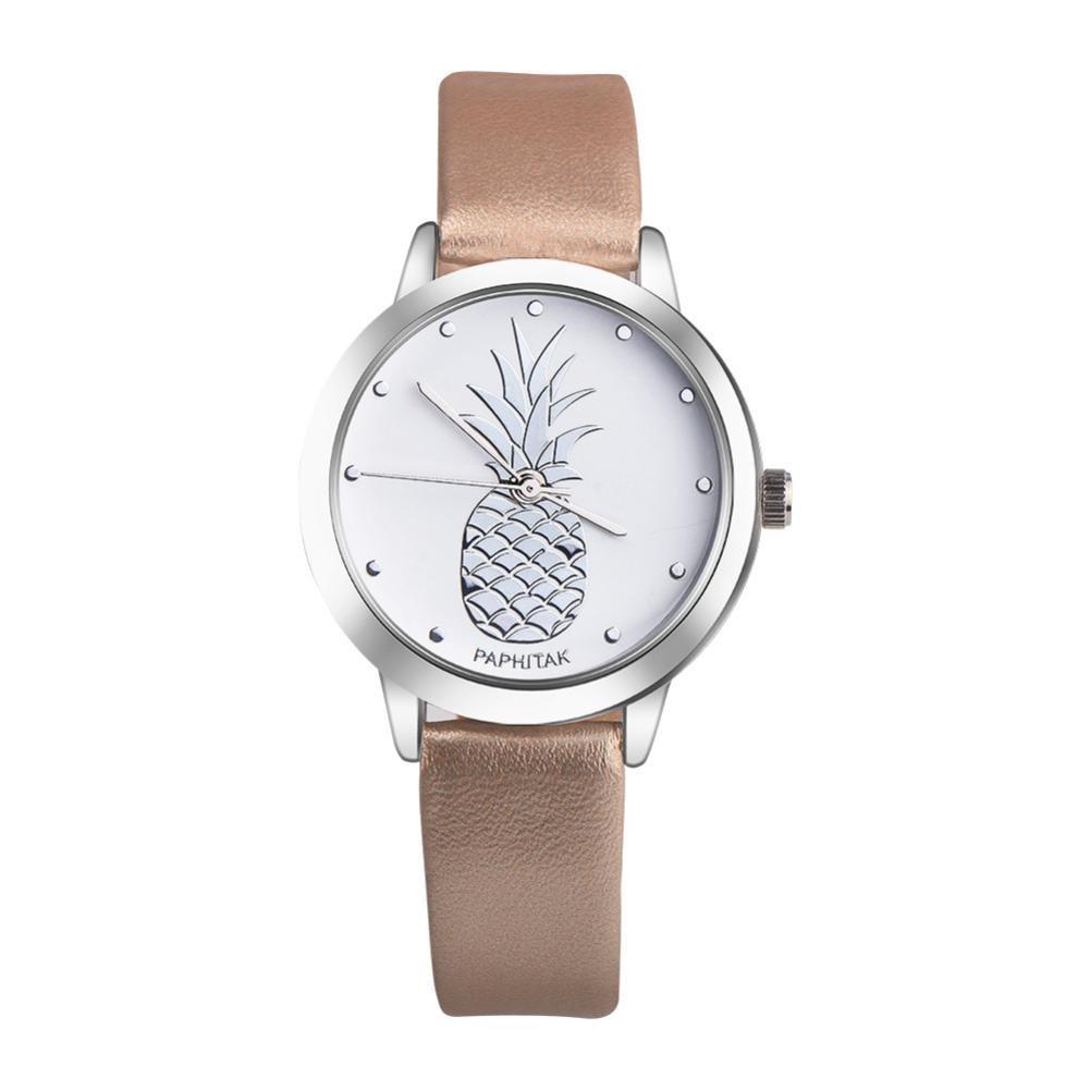 Balakie Women's Watch, Cute Ladies Teen Girls Watch Pineapple Print Analog Quartz Wristwatch Gift (Gold, NA)