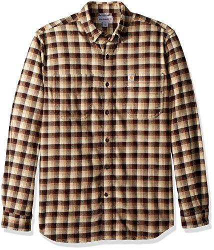 - Carhartt Men's Rugged Flex Hamilton Plaid Shirt, Dark Brown, Large