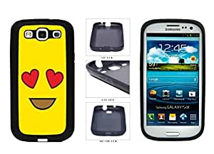 Bright Yellow Heart Eyes Smiley Face TPU RUBBER SILICONE Phone Case Back Cover Samsung Galaxy S3 I9300