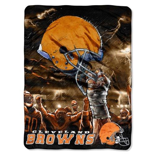 NFL Cleveland Browns 60-Inch-by-80-Inch Plush Rachel Blanket, Sky Helmet -