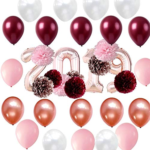 32 inch Rose Gold 2019 Foil Balloons Tissue Pom Poms Kit for 2019 New Year Eve Party Decorations ()