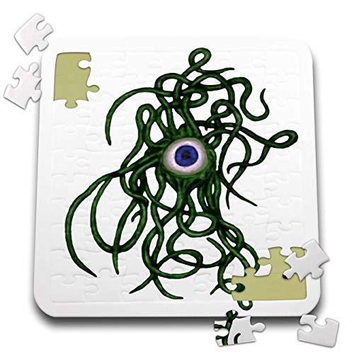 3dRose Taiche - Vector - Halloween Monster - Viral Bacteria Evil Eye Demon Cyclops Monster in Green - 10x10 Inch Puzzle -