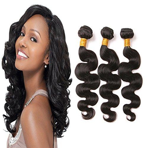 Brazilian Human Hair 3 Bundles Body Wave 12 14 16 Inch 300g/pack Unprocessed Brazilian Virgin Hair Weave Bundles Double Weft Natural Black Color