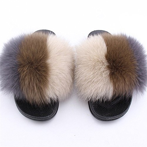 Women Slides Multicolor Wide qmfur Fox Open Black Toe Fur e Real On Comfortable Width Sole Sandals d0P0qxwIgA