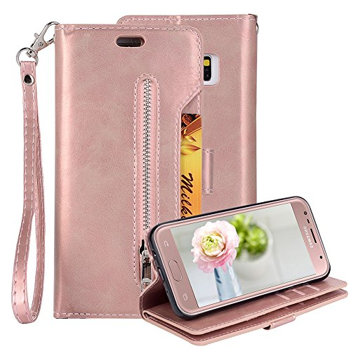 Price comparison product image PU Leather Zipper Wallet Case for Samsung Galaxy J7 J720 2017, Aearl Multi-functional Zipper Folio Flip Stand Magnetic Cover Inner Soft TPU Case Card Holder for Samsung Galaxy J7 2017 - Rose Gold