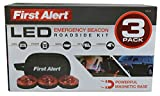 First Alert Red LED Emergency Roadside Beacon Flare - Set of 3 Flares with Storage Bag