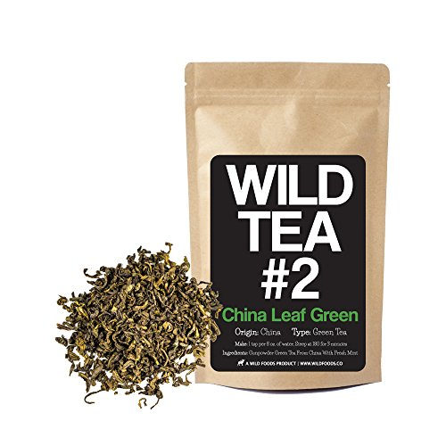 Minty Green - Minty Green Tea, Chinese High-Grown Loose Leaf Green Tea - Wild Tea #2 China Leaf Green by Wild Foods (4 Ounce)