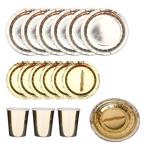 Gold Disposable Paper Plates Cups Set;9 inch Dinner Plates,7 inch Dessert Plates,9 Oz Paper Cups for 24 Guests;Gold Plates for Party,Birthday,Graduation,Wedding,Baby Shower (Gold, 72) ()