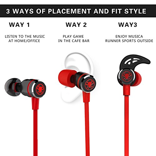 Granvela Gaming Earbuds, G20 Hammering Bass in Ear Gaming Headphones Noise Isolating Magnet Earphones with Mic and Volume Control for Xbox One,PS4, PC and MacBook. Cable Length 2.2M. -Red