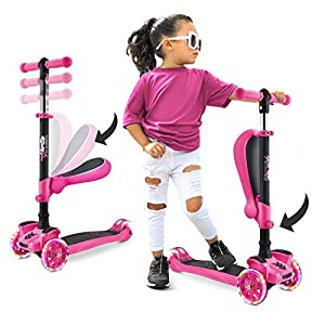 3 Wheeled Scooter for Kids – Stand & Cruise Child/Toddlers Toy Folding Kick Scooters w/Adjustable Height, Anti-Slip Deck…