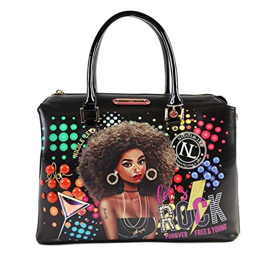 Dual Top Handles Women Satchel Handbag With Multiple Compartments (Friday Night Fun)