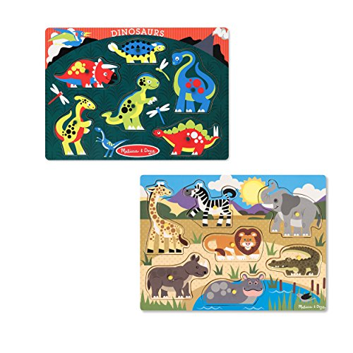 Melissa & Doug Animals Wooden Peg Puzzles Set - Safari and Dinosaurs - Peg Puzzle Set