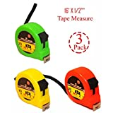(Set of 3) Colored Tape Measure, 16'' x 1/2''