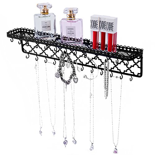 MyGift Moroccan Inspired Black Metal Wall-Mounted Jewelry Hanger, Necklace Organizer Rack with Storage Shelf