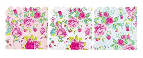- Cocktail Napkins - 150-Pack Luncheon Napkins, Disposable Paper Napkins Party Supplies, 2-Ply, Floral Design with Scalloped Edge, 3 Colors, Folded 6.2 x 6.3 inches