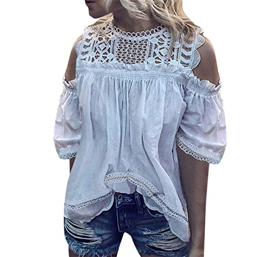 XVSSAA Summer Women's Off Shoulder Short Sleeve T-Shirt, Female Ladies Cutout Lace Splicing Casual Blouse Top White