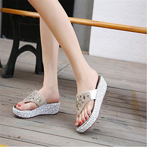 MIAOMIAOWANG a EU sandali di fondo 38 Summer Argento Slope T con Dimensione Argento Colore Beaded con grossa femminili taglia pesante rSqrwfUgY