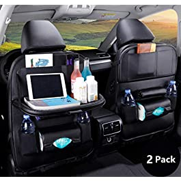 Car Backseat Organizer, PU Leather Car Seat Back Storage, Car Seat Protector, Multifunction Storage Pocket With 7 Pockets and Tablet Holder for Travelling Storage Bottles Toys and etc (Black) (2 Pack)